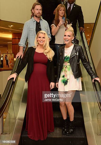 Eric Johnson Jessica Simpson wearing Jessica Simpson Maternity and Ashlee Simpson wearing a Jessica Simpson dress visit Belk Southpark on March 23...
