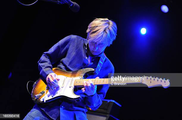 Eric Johnson performs on stage at O2 Shepherd's Bush Empire on April 3 2013 in London England
