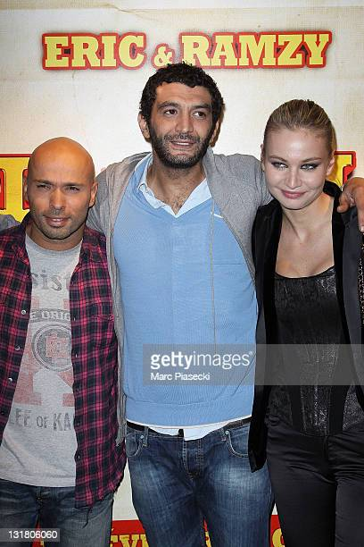 Eric Judor Ramzy Bedia and Anca Radici attend the 'Halal Police d'etat' premiere at UGC Cine Cite Bercy on February 15 2011 in Paris France