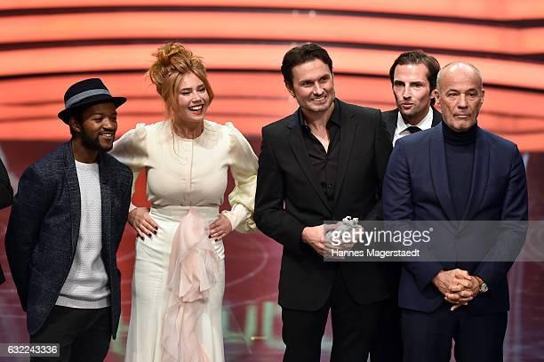 Eric Kabongo Palina Rojinski Simon Verhoeven Quirin Berg and Heiner Lauterbach attend the Bayerischer Filmpreis 2017 at Prinzregententheater on...