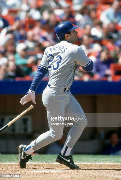 Eric Karros of the Los Angeles Dodgers bat against the New York Mets during a Major League Baseball game circa 1993 at Shea Stadium in the Queens...