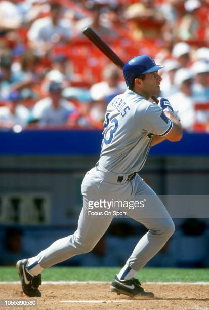 Eric Karros of the Los Angeles Dodgers bats against the New York Mets during a Major League Baseball game circa 1994 at Shea Stadium in the Queens...