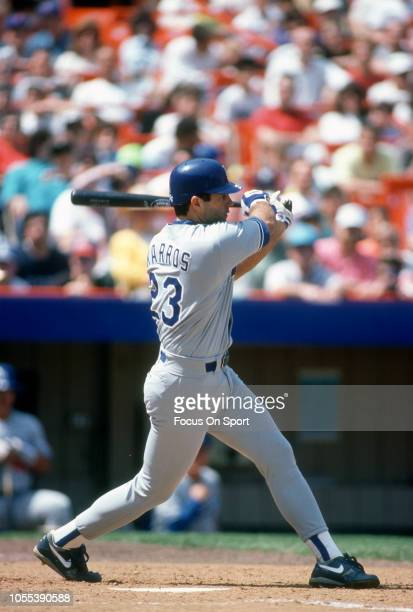 Eric Karros of the Los Angeles Dodgers bats against the New York Mets during a Major League Baseball game circa 1995 at Shea Stadium in the Queens...