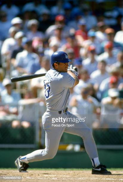 Eric Karros of the Los Angeles Dodgers bats during a Major League Baseball game circa 1994 Karros played for the Dodgers in 199102