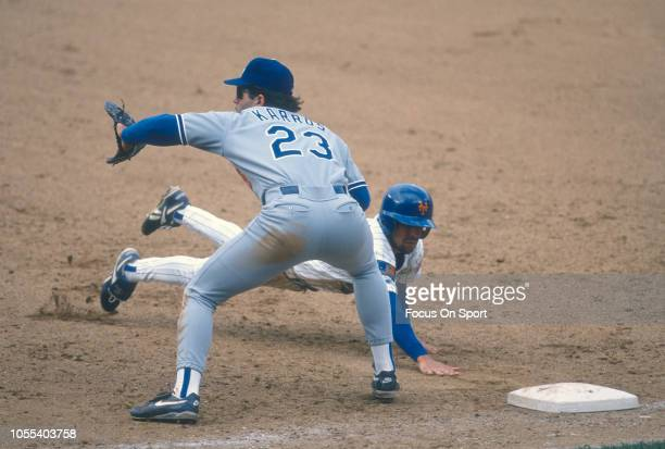Eric Karros of the Los Angeles Dodgers takes the throw over at first base against the New York Mets during a Major League Baseball game circa 1994 at...