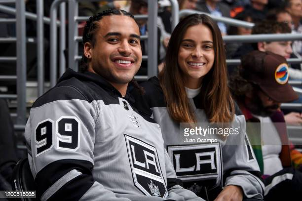 Eric Kendricks of the Minnesota Vikings and Ally Courtnall pose for a photo during the second period against the Calgary Flames at STAPLES Center on...
