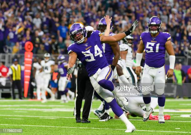 Eric Kendricks of the Minnesota Vikings celebrates after sacking Carson Wentz of the Philadelphia Eagles in the fourth quarter of the game at U.S....