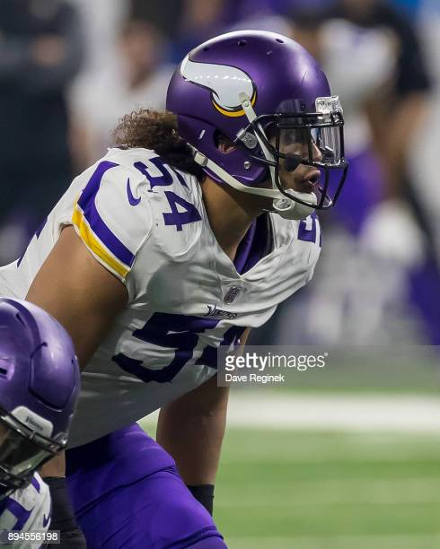 Eric Kendricks of the Minnesota Vikings gets set for the play against the Detroit Lions during an NFL game at Ford Field on November 23 2016 in...