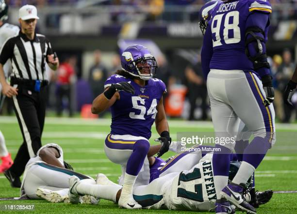 Eric Kendricks of the Minnesota Vikings reacts after tackling Alshon Jeffery of the Philadelphia Eagles in the third quarter of the game at US Bank...