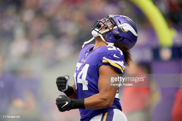 Eric Kendricks of the Minnesota Vikings reacts during player announcements before the game against the Atlanta Falcons at U.S. Bank Stadium on...