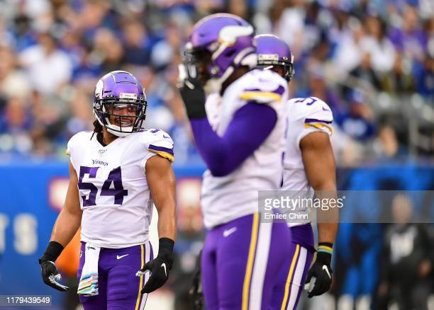 Eric Kendricks of the Minnesota Vikings reacts during their game against the New York Giants at MetLife Stadium on October 06, 2019 in East...