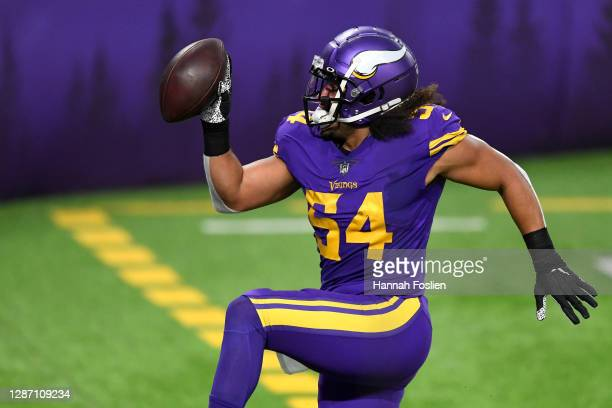 Eric Kendricks of the Minnesota Vikings reacts following an interception during their game against the Dallas Cowboys at U.S. Bank Stadium on...
