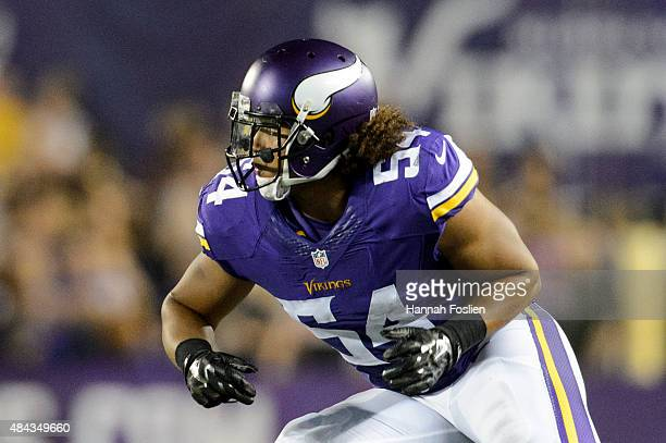 Eric Kendricks of the Minnesota Vikings runs a play against the Tampa Bay Buccaneers during the preseason game on August 15, 2015 at TCF Bank Stadium...