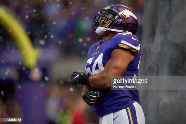 Eric Kendricks of the Minnesota Vikings runs onto the field during player introductions before the game against the Buffalo Bills at U.S. Bank...