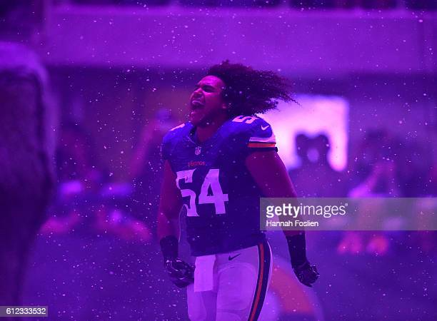 Eric Kendricks of the Minnesota Vikings takes the field before the game against the New York Giants on October 3, 2016 at US Bank Stadium in...