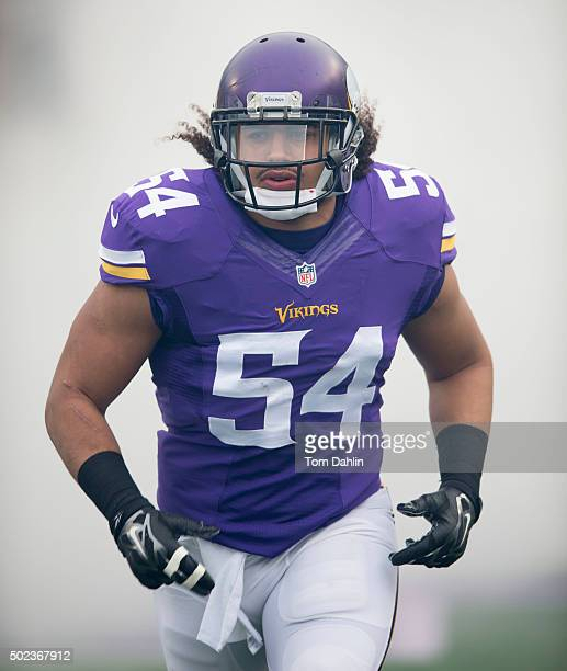 Eric Kendricks the Minnesota Vikings runs onto the field during an NFL game against the Chicago Bears at TCF Bank Stadium December 20 2015 in...