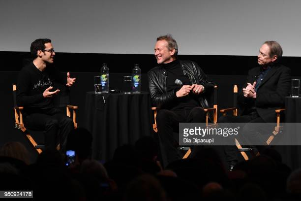 Eric Kohn Alexandre Rockwell and Steve Buscemi speak onstage at the screening of 'In The Soup' during the 2018 Tribeca Film Festival at SVA Theatre...