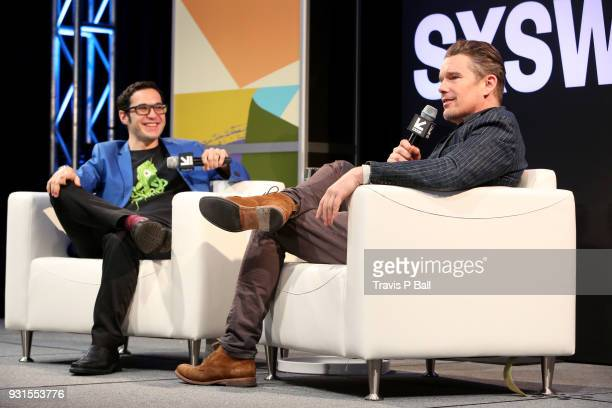 Eric Kohn and Ethan Hawke speak onstage during SXSW at Austin Convention Center on March 13 2018 in Austin Texas