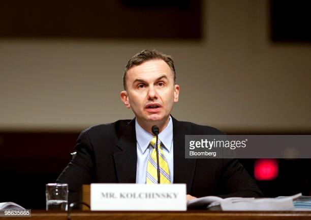 Eric Kolchinsky, a former managing director in the structured derivative products group at Moody's Investors Service, testifies at a Senate Homeland...