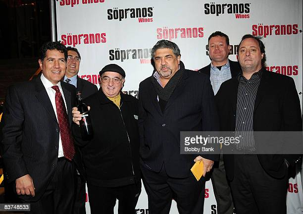 Eric Kotch Chris Massie John Cha ChaCiarciaVincent Pastore Jeff Sidron and Mark Gonsalves attends the launch of Sopranos Wines at the World Bar at...