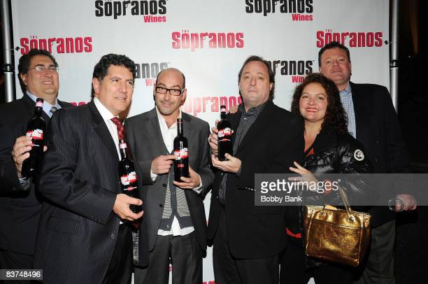 Eric Kotch Chris Massie John Ventimiglia Aida Turturro Jeff Sidron and Mark Gonsalves attends the launch of Sopranos Wines at the World Bar at Trump...