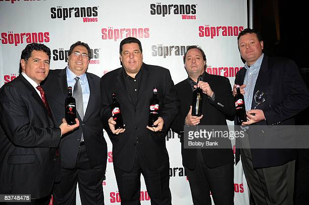 Eric Kotch Chris MassieSteve Schirripa Jeff Sidron and Mark Gonsalves attends the launch of Sopranos Wines at the World Bar at Trump World Tower on...
