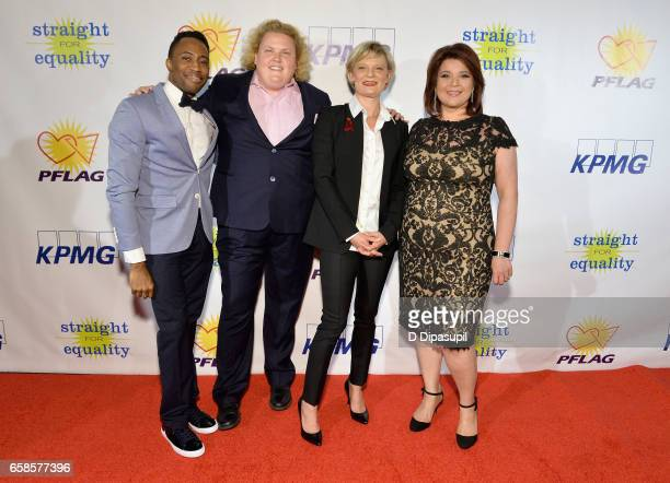 Eric LaJuan Summers, Fortune Feimster, Martha Plimpton and Ana Navarro attend the ninth annual PFLAG National Straight for Equality Awards Gala on...