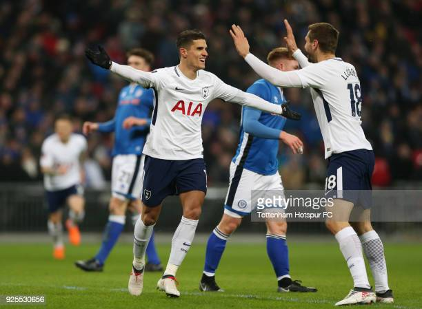 Eric Lamela of Tottenham Hotspur celebrates scoring a goal with Fernando Llorente only to have it overturned by VAR during the Emirates FA Cup Fifth...