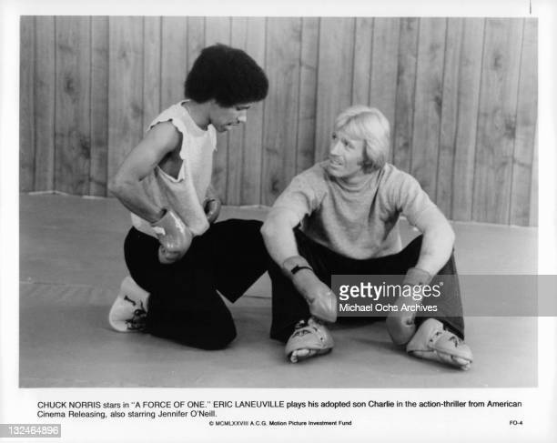 Eric Laneuville plays the adopted son of Chuck Norris in a scene from the film 'A Force Of One' 1979