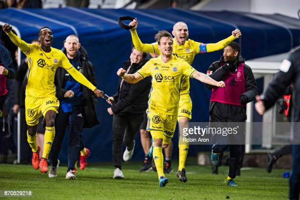 Eric Larsson Marcus Danielsson and Peter Wilson of GIF Sundsvall celebrates after the victory in the Allsvenskan match between IFK Goteborg and GIF...