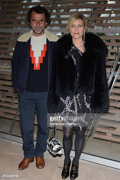 Eric Lartigau and Marina Fois attend the Louis Vuitton show as part of the Paris Fashion Week Womenswear Fall/Winter 2016/2017 on March 9 2016 in...