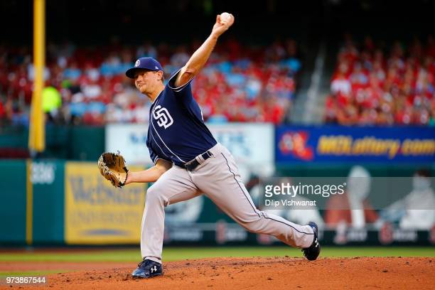 Eric Lauer of the San Diego Padres delivers a pitch against the St Louis Cardinals in the first inning at Busch Stadium on June 13 2018 in St Louis...