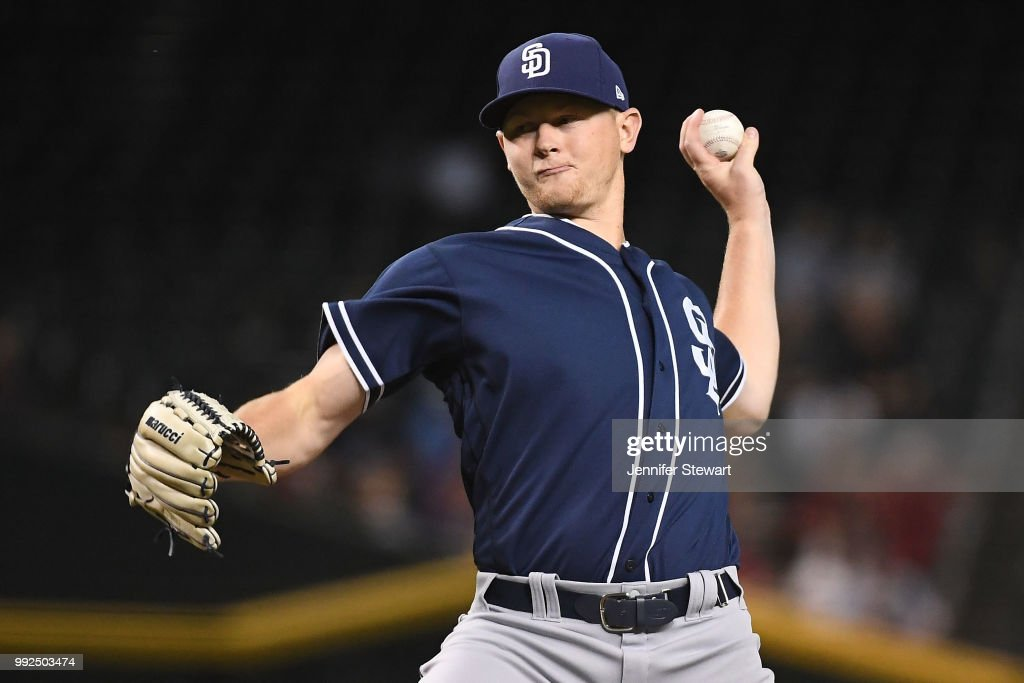 Eric Lauer #46 of the San Diego Padres delivers a pitch in the first inning of the MLB game against the Arizona Diamondbacks at Chase Field on July 5, 2018 in Phoenix, Arizona.