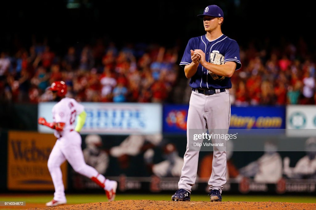Eric Lauer #46 of the San Diego Padres reacts after giving up a two-run home run against the St. Louis Cardinals in the sixth inning at Busch Stadium on June 13, 2018 in St. Louis, Missouri.