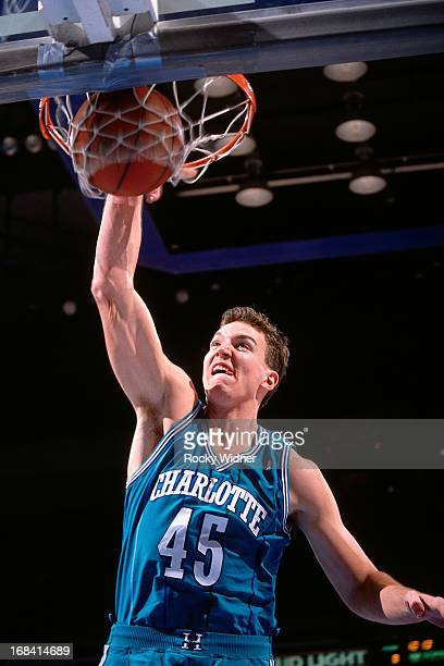Eric Leckner of the Charlotte Hornets dunks against the Sacramento Kings during a game played on February 27 1991 at Arco Arena in Sacramento...