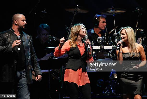 Eric Lee Beddingfield Rhonda Vincent and Lisa Matassa perform during Playin' Possum The Final No Show Tribute To George Jones Show at Bridgestone...