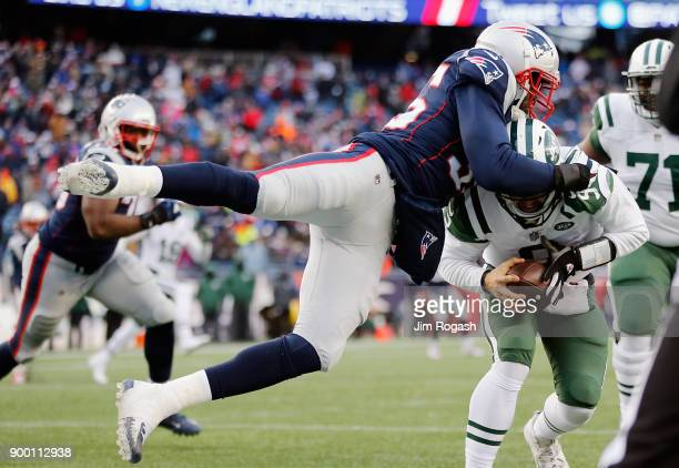 Eric Lee of the New England Patriots sacks Bryce Petty of the New York Jets in the end zone for a safety during the fourth quarter at Gillette...