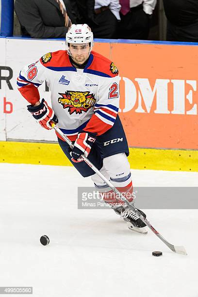 Eric Leger of the Moncton Wildcats skates with the puck during the warmup prior to the QMJHL game against the Blainville-Boisbriand Armada at the...