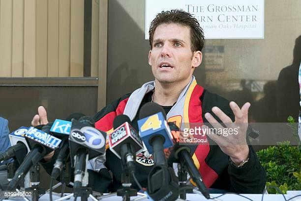Eric LeMarque speaks at a press conference at The Grossman Burn Center about how he survived seven nights in belowfreezing weather after getting lost...