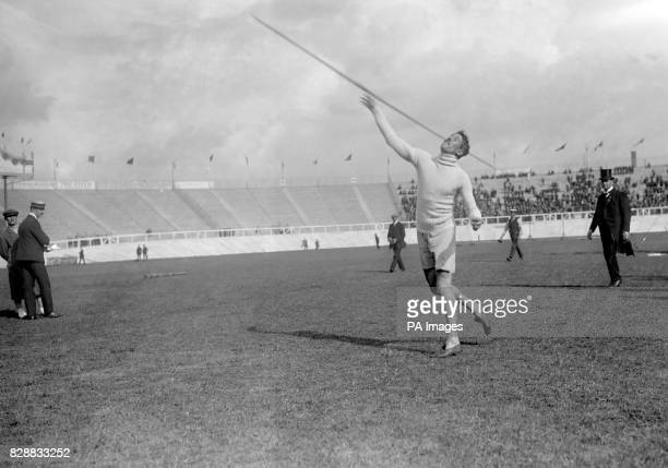 Eric Lemming of Sweden taking part in the Javelin during the 1908 Olympic Games in London Lemming evetually took the Gold Medal