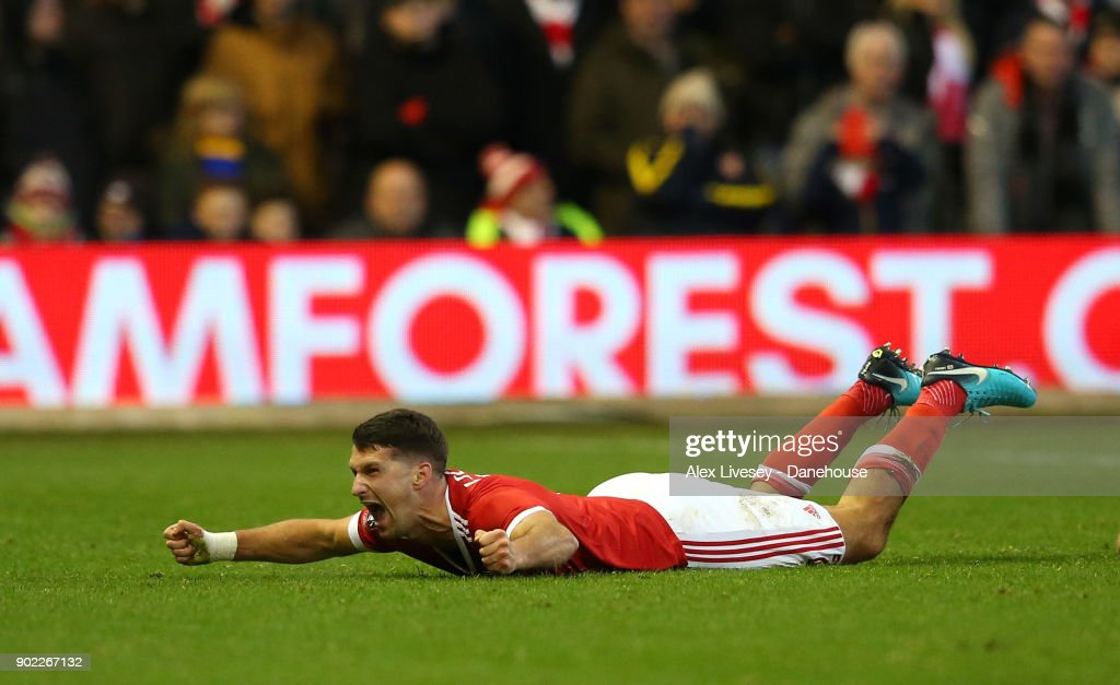 Eric Lichaj of Nottingham Forest celebrates after scoring their first goal during the Emirates FA Cup Third Round match between Nottingham Forest and Arsenal at City Ground on January 7, 2018 in Nottingham, England.