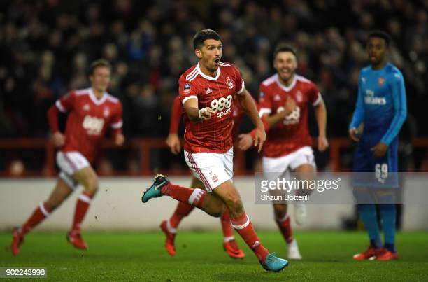 Eric Lichaj of Nottingham Forest celebrates scoring his side's first goal during The Emirates FA Cup Third Round match between Nottingham Forest and...