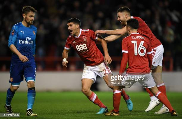 Eric Lichaj of Nottingham Forest celebrates scoring his side's second goal during The Emirates FA Cup Third Round match between Nottingham Forest and...