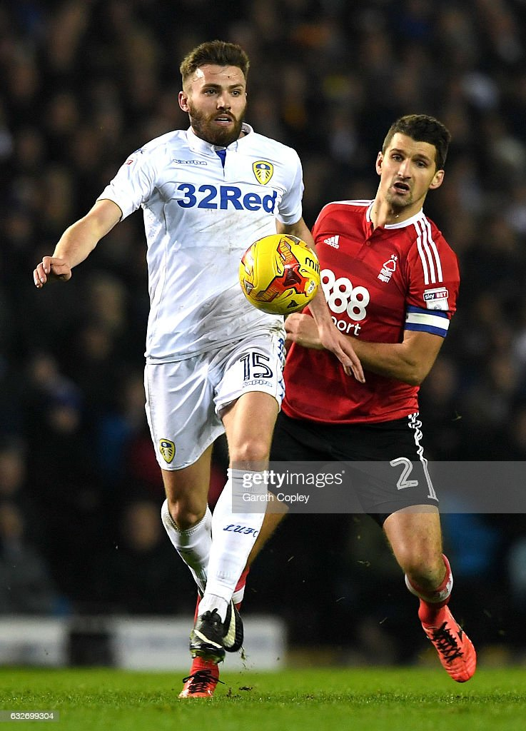 Eric Lichaj of Nottingham Forest closes down Stuart Dallas of Leeds United during the Sky Bet Championship match between Leeds United and Nottingham Forest at Elland Road on January 25, 2017 in Leeds, England.