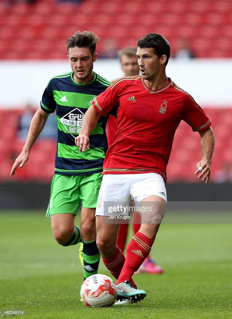 Eric Lichaj of Nottingham Forest during the pre season friendly match between Nottingham Forest and Swansea City at City Ground on July 25, 2015 in Nottingham, England.