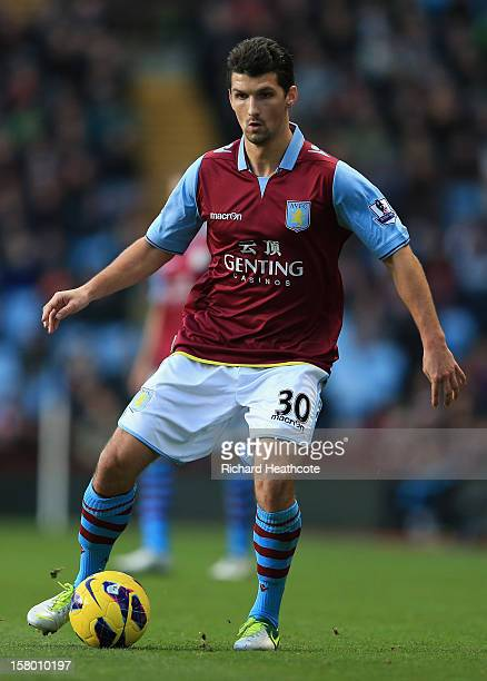 Eric Lichaj of Villa in action during the Barclays Premier League match between Aston Villa and Stoke City at Villa Park on December 8 2012 in...