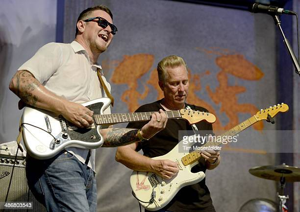 Eric Lindell and Anson Funderburgh perform during the 2014 New Orleans Jazz Heritage Festival at Fair Grounds Race Course on April 25 2014 in New...