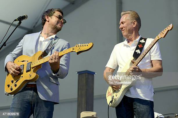 Eric Lindell and Anson Funderburgh perform during the 2015 New Orleans Jazz Heritage Festival at Fair Grounds Race Course on April 30 2015 in New...