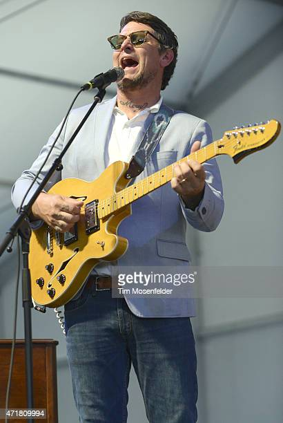 Eric Lindell performs during the 2015 New Orleans Jazz Heritage Festival at Fair Grounds Race Course on April 30 2015 in New Orleans Louisiana