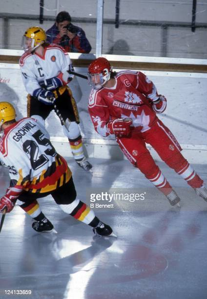 Eric Lindros of Team Canada skates on the ice during a 1992 World Junior Championships game against Germany on December 26 1991 in Fussen Germany